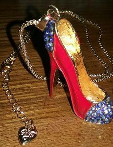 Necklace goldtone Red Heel charm NWOT